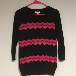 Elle Sweaters - Elle Black Sweater with pink lace detail size med